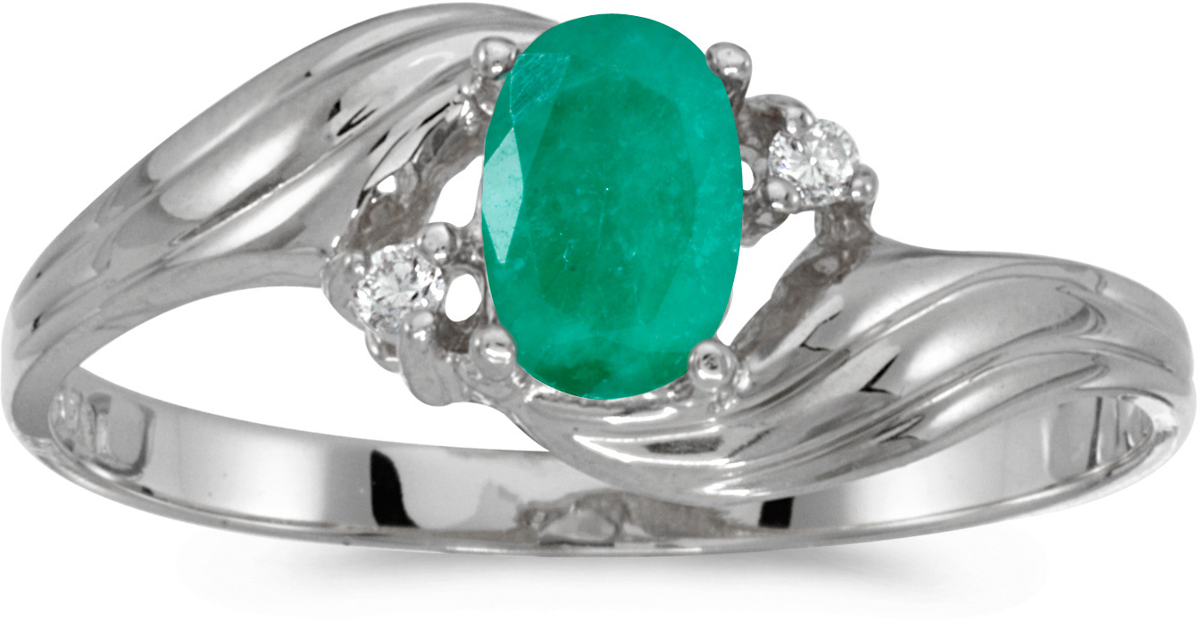 10k White Gold Oval Emerald And Diamond Ring (CM-RM885W-05)