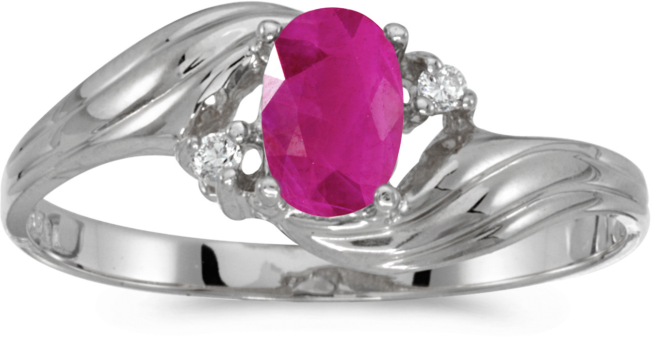 10k White Gold Oval Ruby And Diamond Ring (CM-RM885W-07)