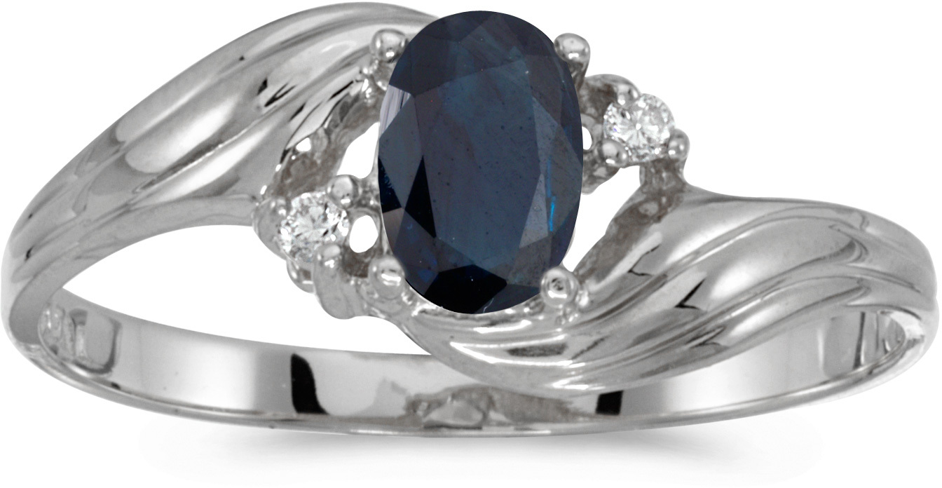 10k White Gold Oval Sapphire And Diamond Ring (CM-RM885W-09)