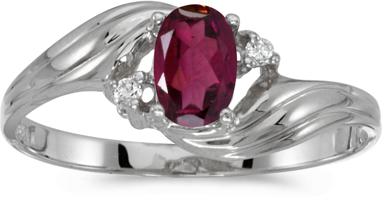 10k White Gold Oval Rhodolite Garnet And Diamond Ring (CM-RM885W-RG)