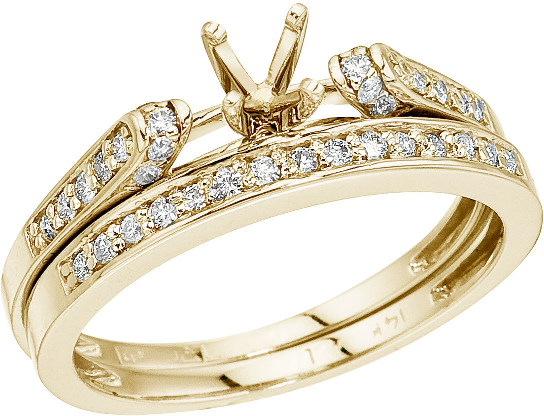 14K Yellow Gold Bridal Ring Set (CM-RM9071)