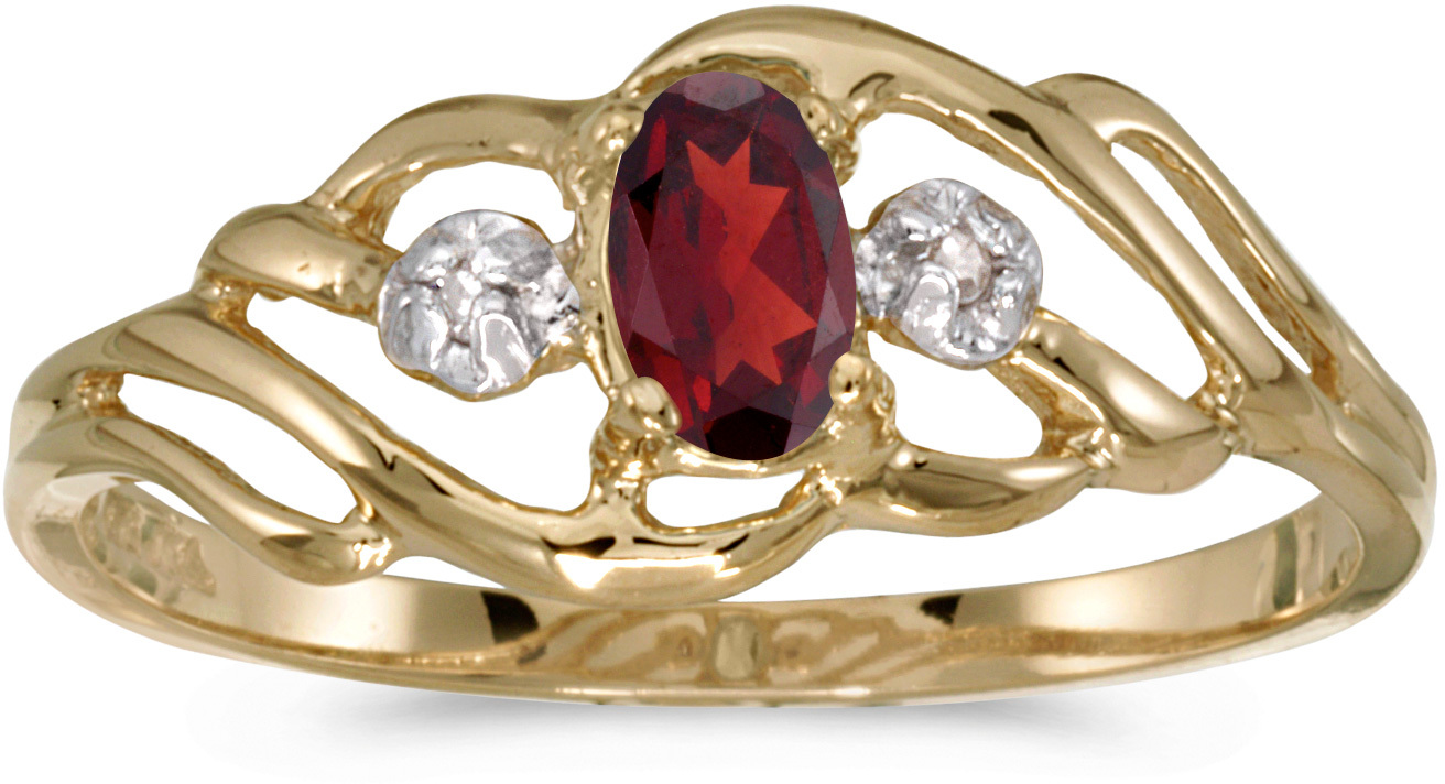 10k Yellow Gold Oval Garnet And Diamond Ring (CM-RM908-01)