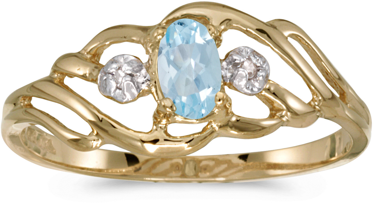 10k Yellow Gold Oval Aquamarine And Diamond Ring (CM-RM908-03)