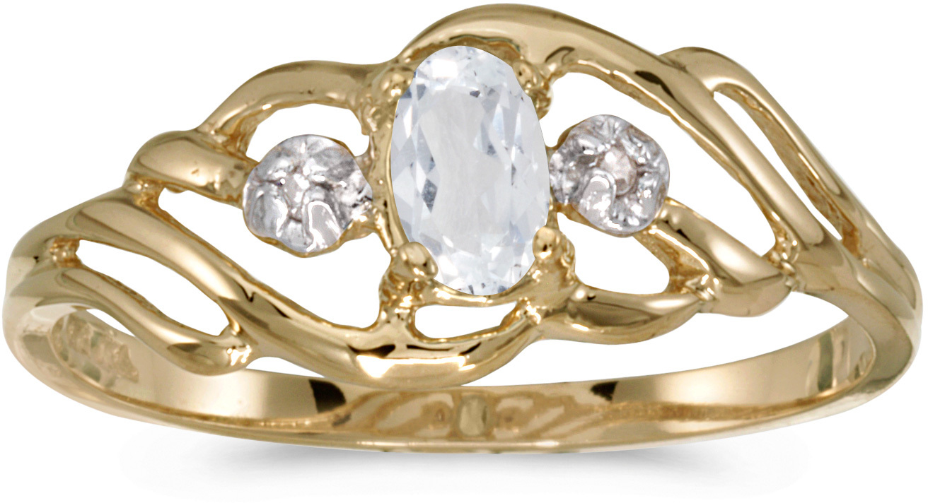 10k Yellow Gold Oval White Topaz And Diamond Ring (CM-RM908-04)