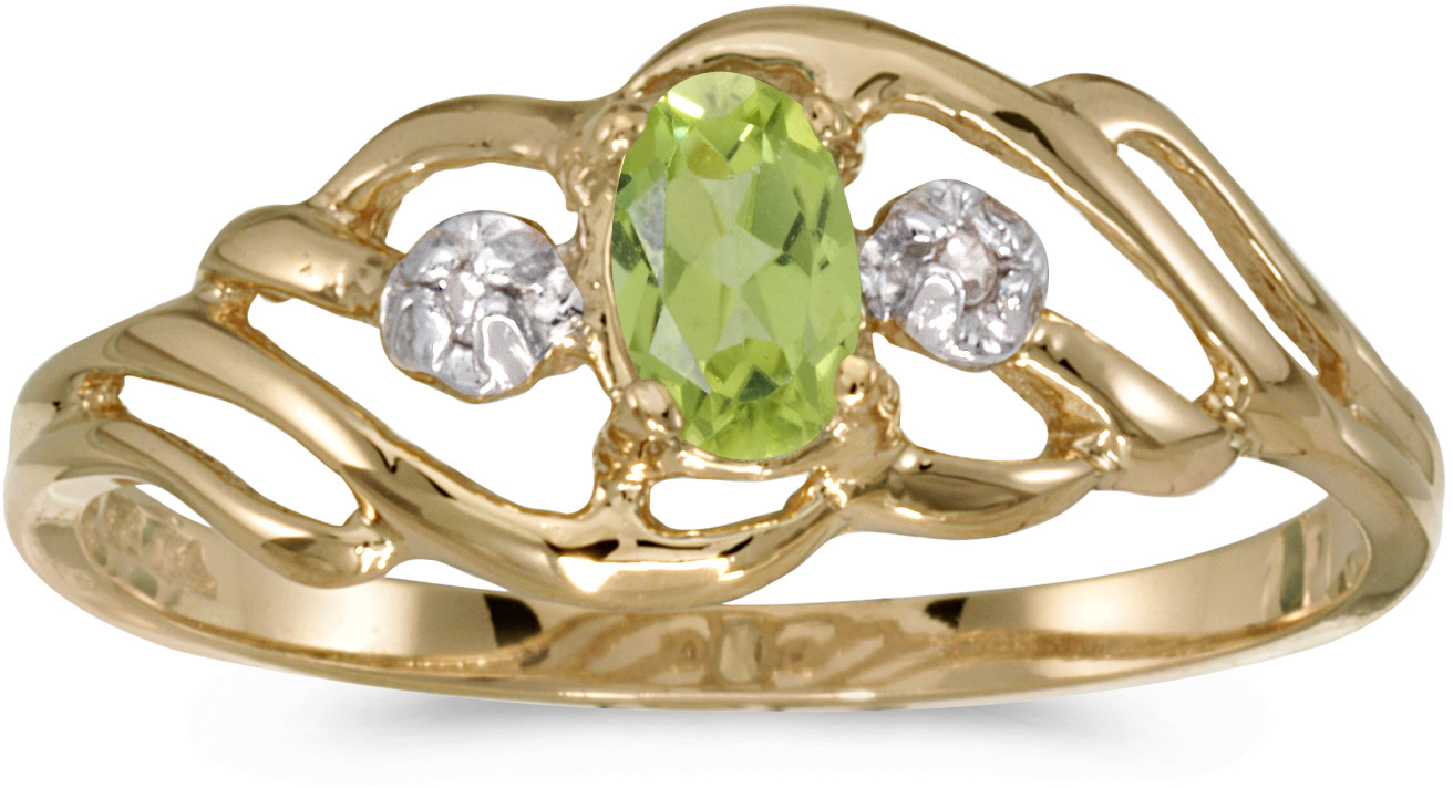 10k Yellow Gold Oval Peridot And Diamond Ring (CM-RM908-08)