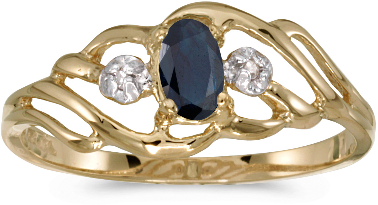 10k Yellow Gold Oval Sapphire And Diamond Ring (CM-RM908-09)