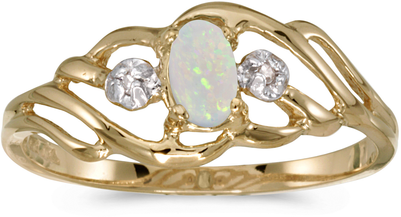 10k Yellow Gold Oval Opal And Diamond Ring (CM-RM908-10)