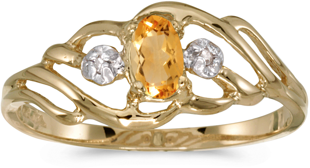 10k Yellow Gold Oval Citrine And Diamond Ring (CM-RM908-11)