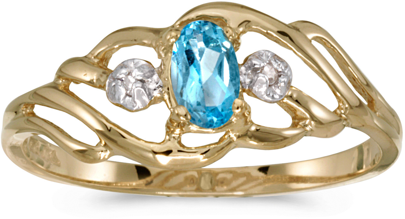 10k Yellow Gold Oval Blue Topaz And Diamond Ring (CM-RM908-12)
