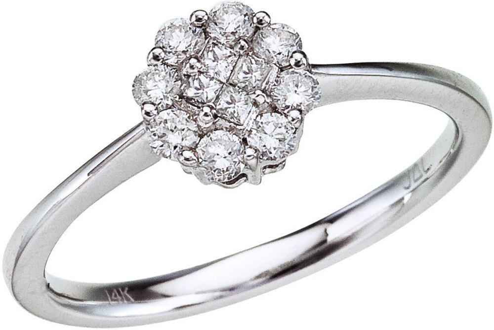 14K White Gold Diamond Clustaire Ring (CM-RM9088W)
