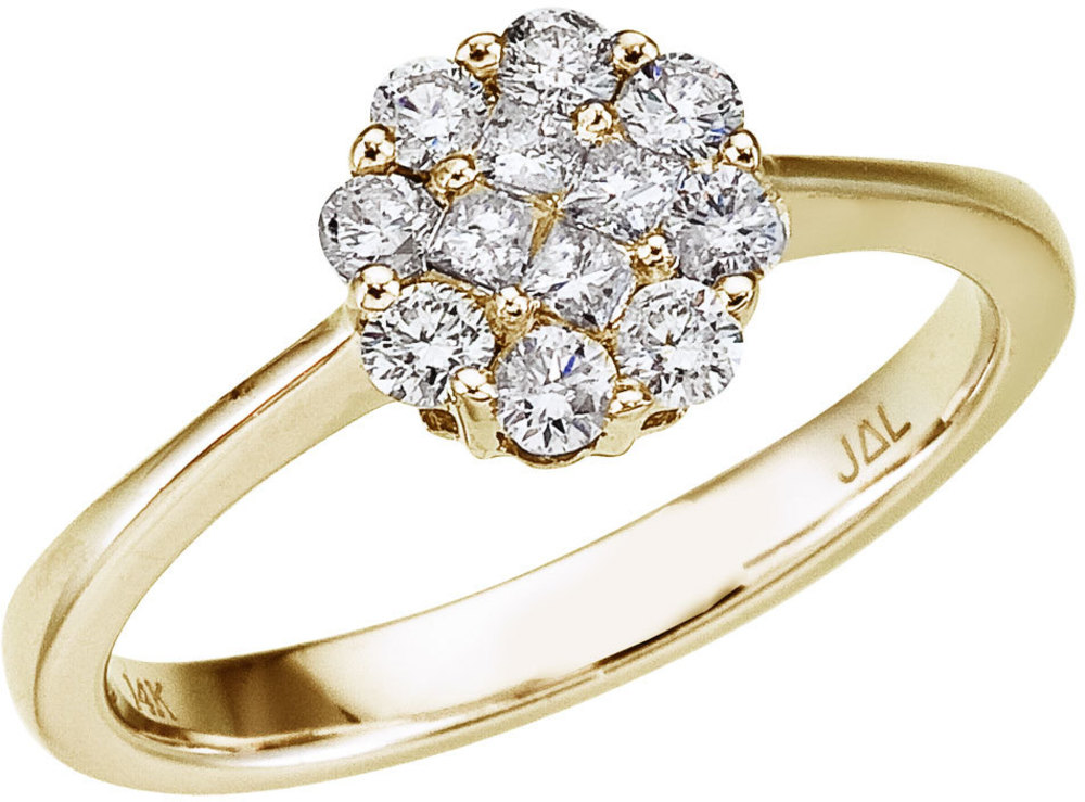 14K Yellow Gold .50 Ct Diamond Cluster Ring (CM-RM9089)
