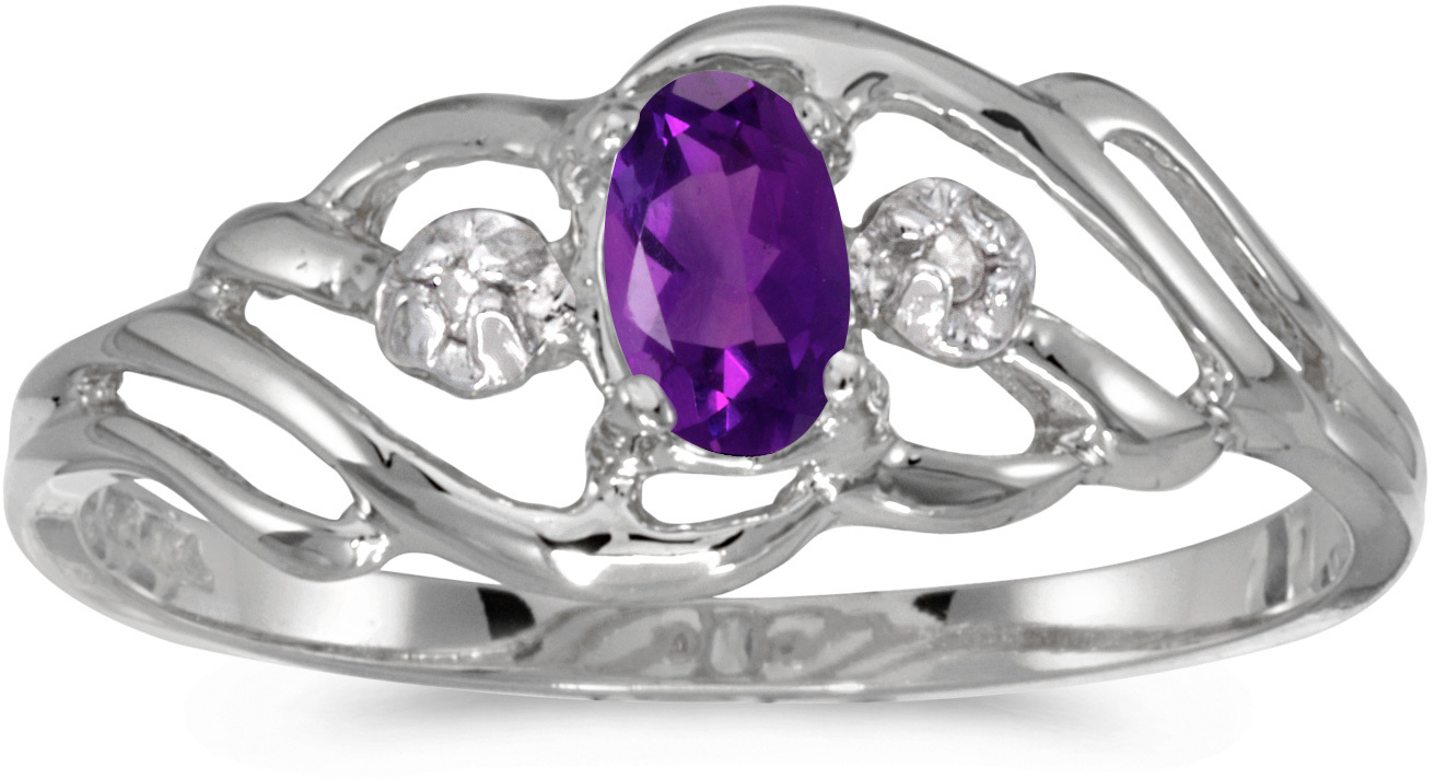 10k White Gold Oval Amethyst And Diamond Ring (CM-RM908W-02)