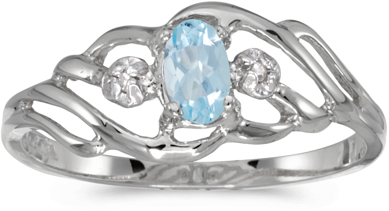 10k White Gold Oval Aquamarine And Diamond Ring (CM-RM908W-03)