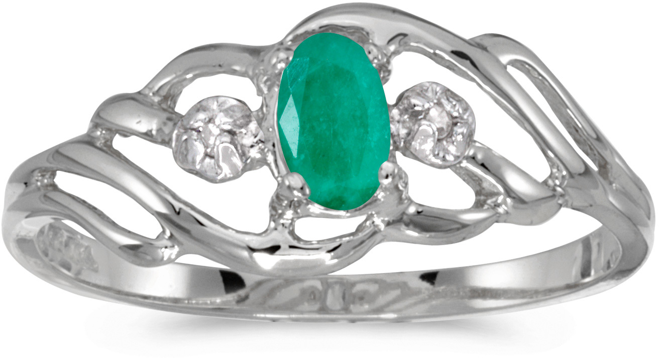 10k White Gold Oval Emerald And Diamond Ring (CM-RM908W-05)