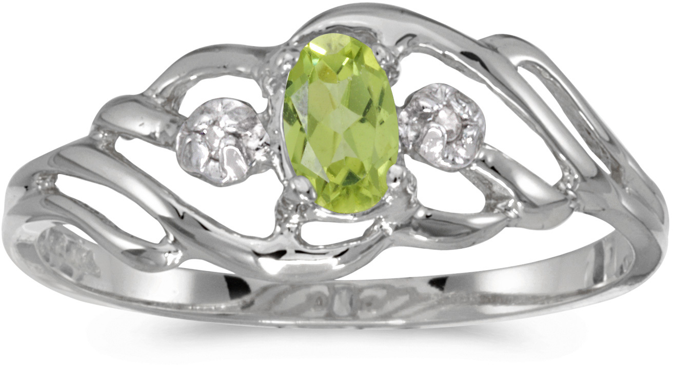 10k White Gold Oval Peridot And Diamond Ring (CM-RM908W-08)