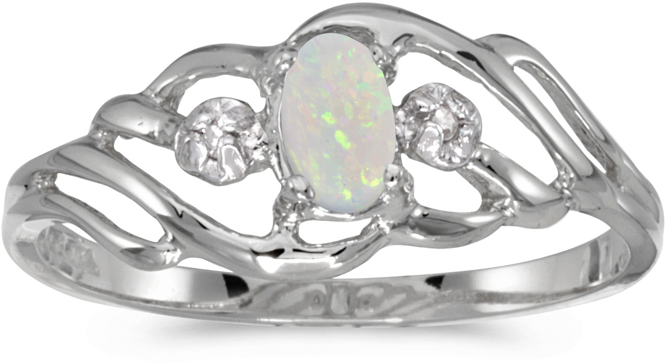 10k White Gold Oval Opal And Diamond Ring (CM-RM908W-10)