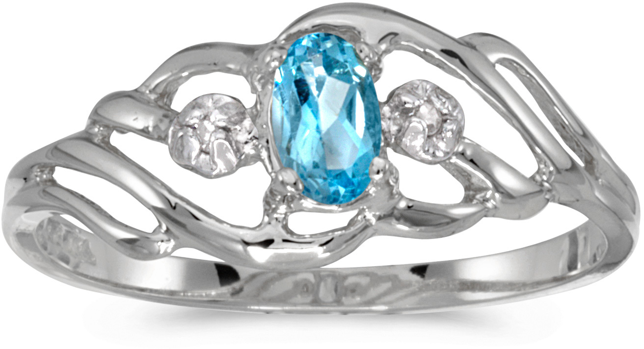 10k White Gold Oval Blue Topaz And Diamond Ring (CM-RM908W-12)