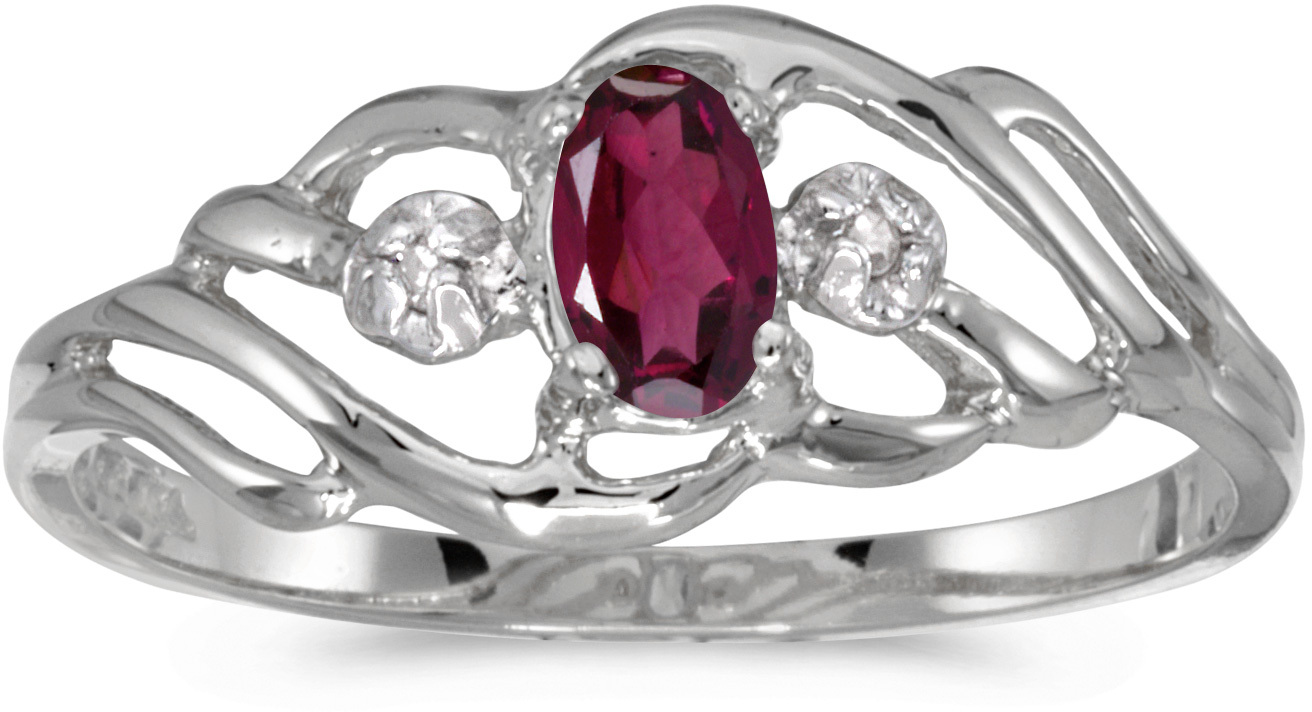 10k White Gold Oval Rhodolite Garnet And Diamond Ring (CM-RM908W-RG)