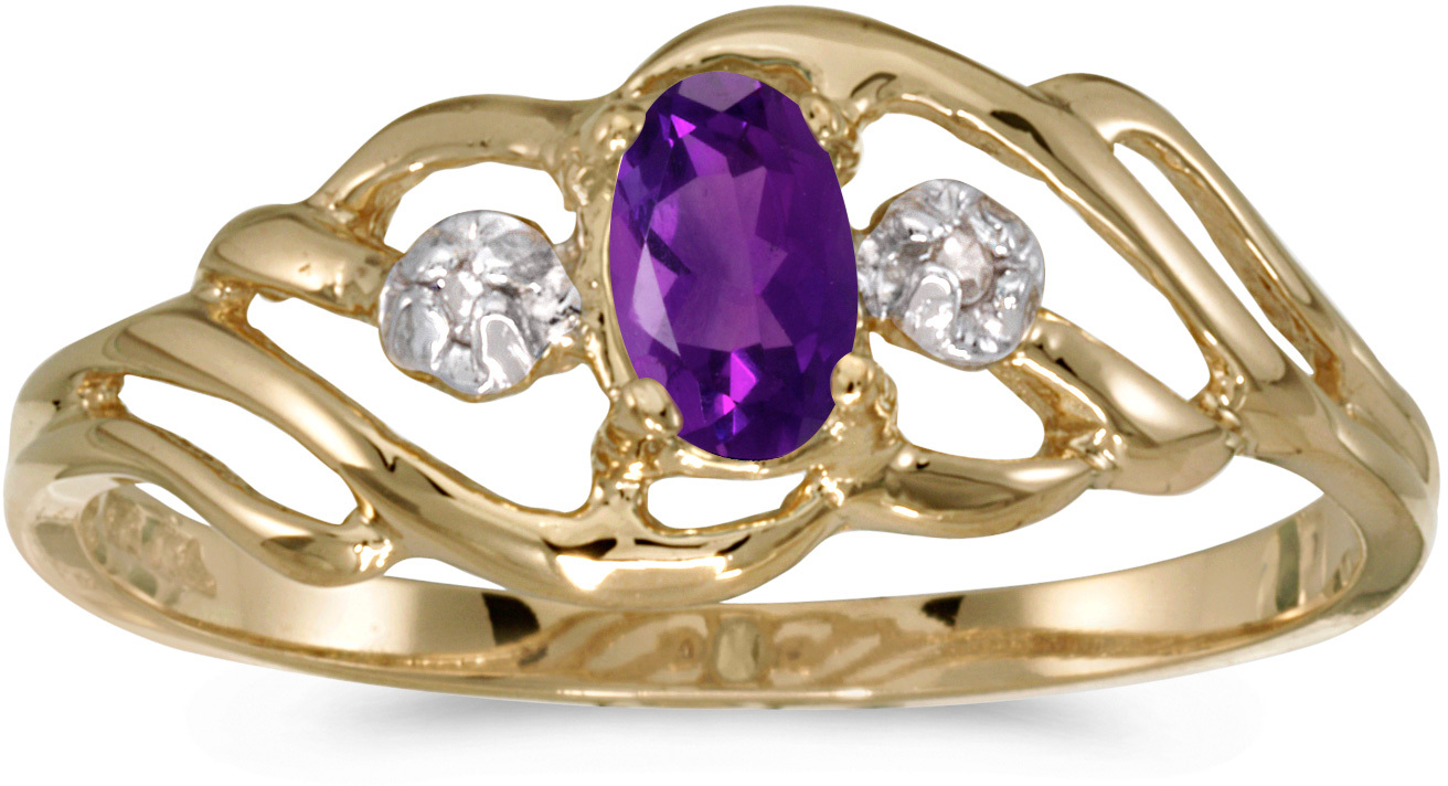 14k Yellow Gold Oval Amethyst And Diamond Ring (CM-RM908X-02)
