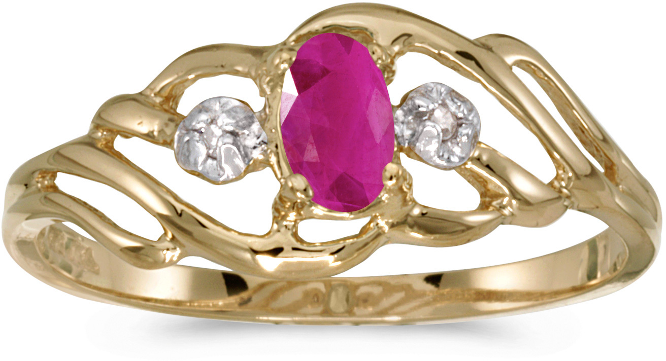 14k Yellow Gold Oval Ruby And Diamond Ring (CM-RM908X-07)