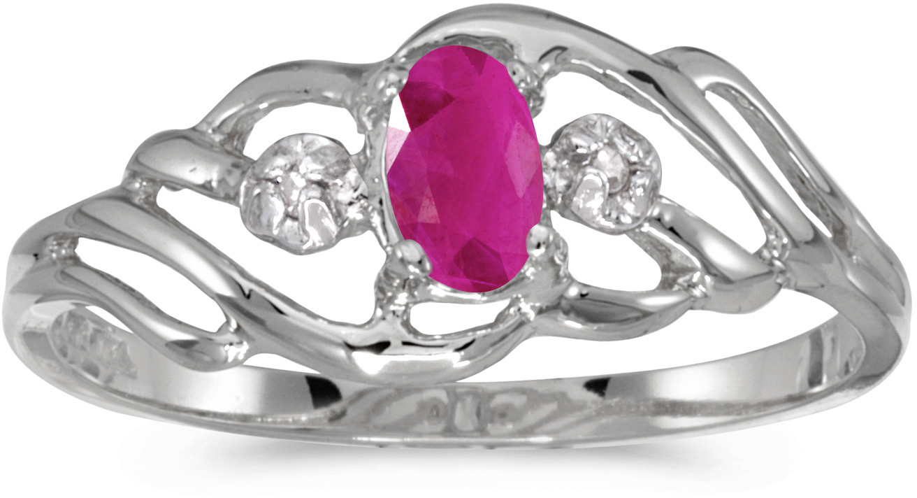 14k White Gold Oval Ruby And Diamond Ring (CM-RM908XW-07)