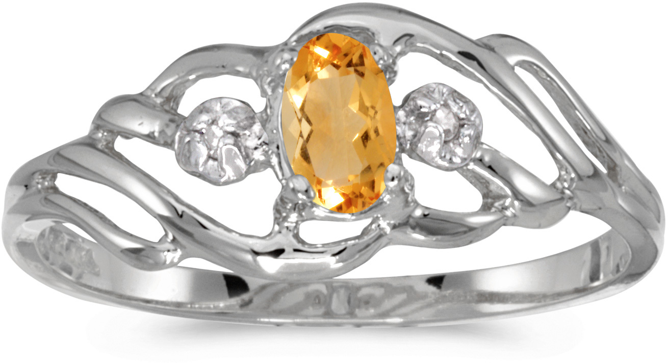 14k White Gold Oval Citrine And Diamond Ring (CM-RM908XW-11)