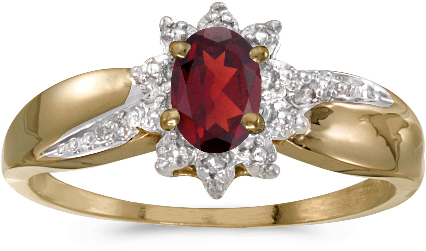 10k Yellow Gold Oval Garnet And Diamond Ring (CM-RM911-01)