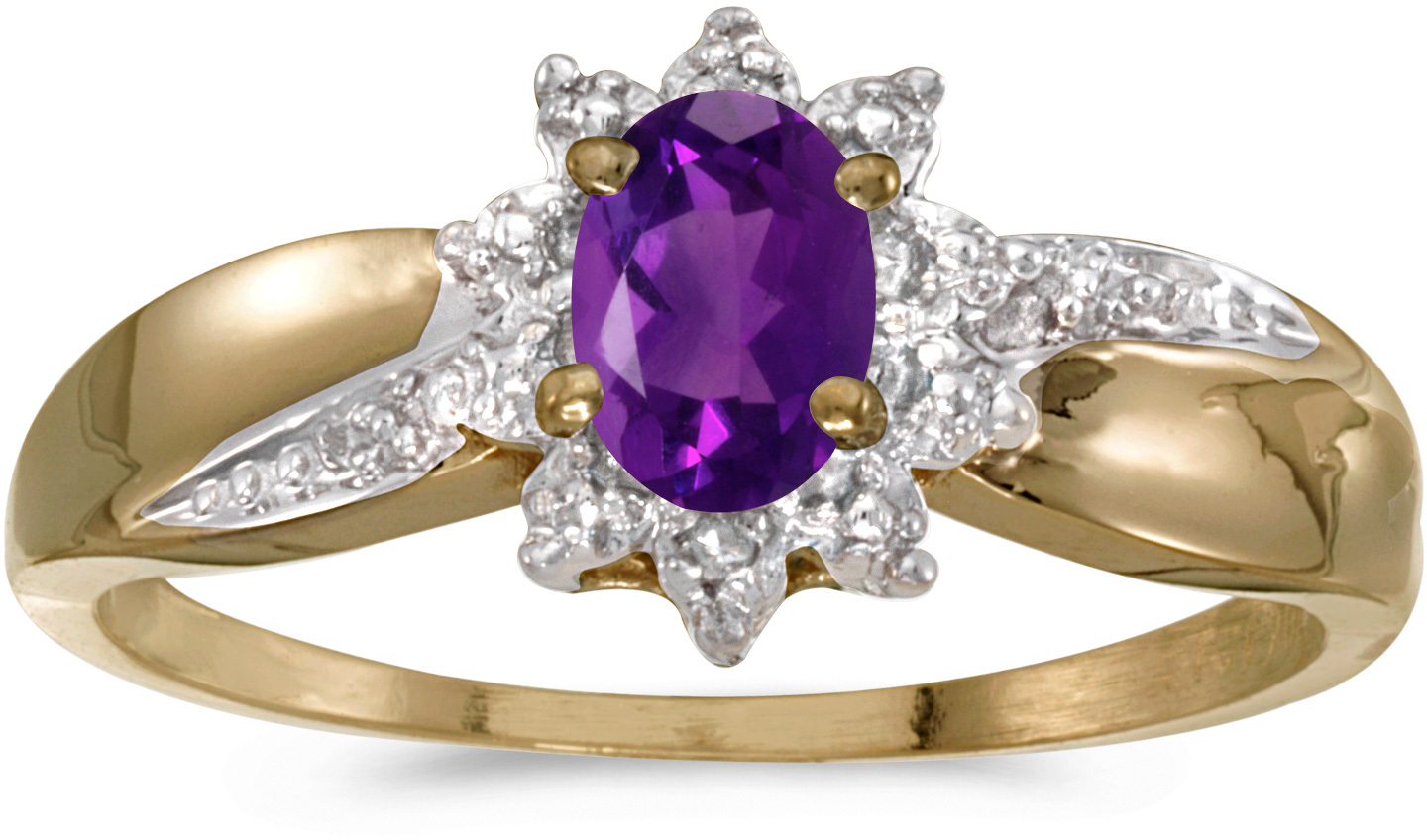 10k Yellow Gold Oval Amethyst And Diamond Ring (CM-RM911-02)