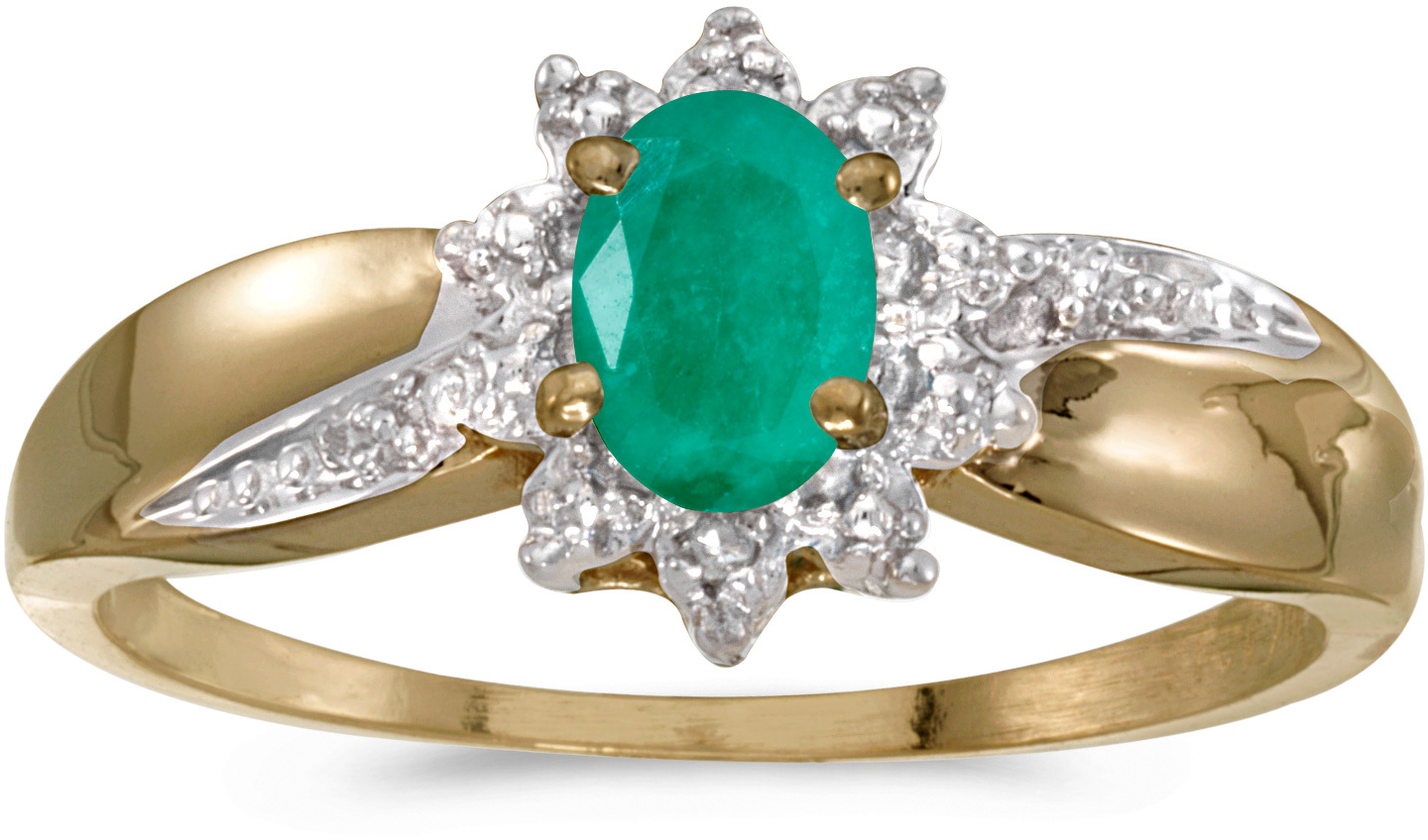 10k Yellow Gold Oval Emerald And Diamond Ring (CM-RM911-05)
