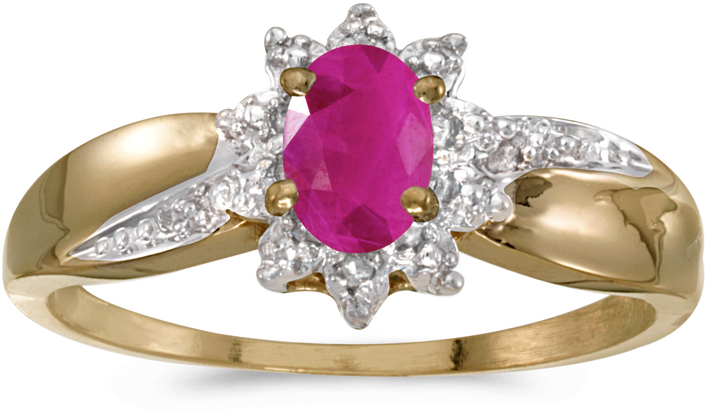 10k Yellow Gold Oval Ruby And Diamond Ring (CM-RM911-07)