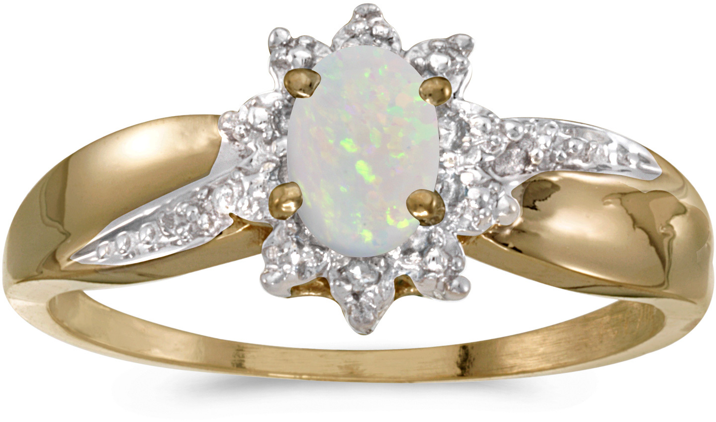 10k Yellow Gold Oval Opal And Diamond Ring (CM-RM911-10)
