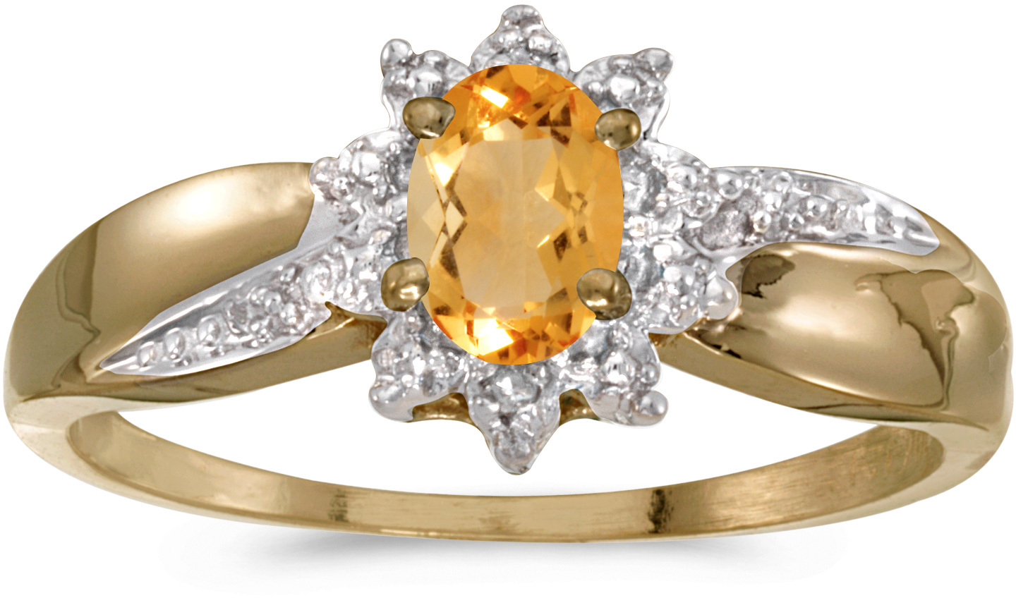 10k Yellow Gold Oval Citrine And Diamond Ring (CM-RM911-11)