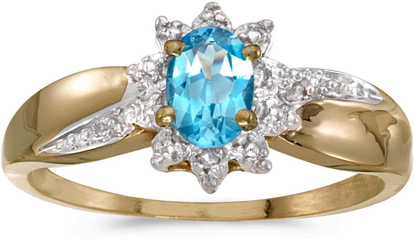 10k Yellow Gold Oval Blue Topaz And Diamond Ring (CM-RM911-12)