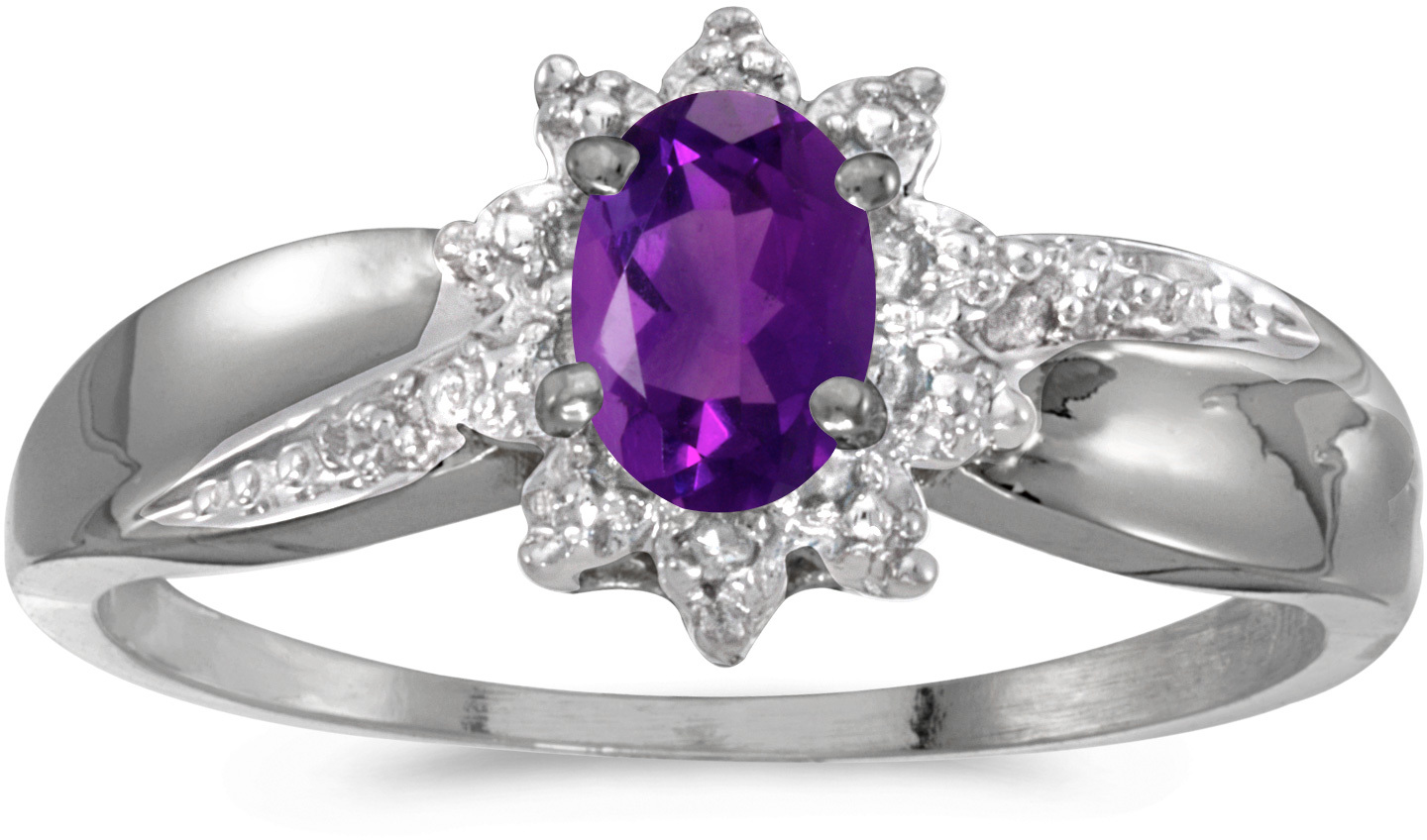 10k White Gold Oval Amethyst And Diamond Ring (CM-RM911W-02)