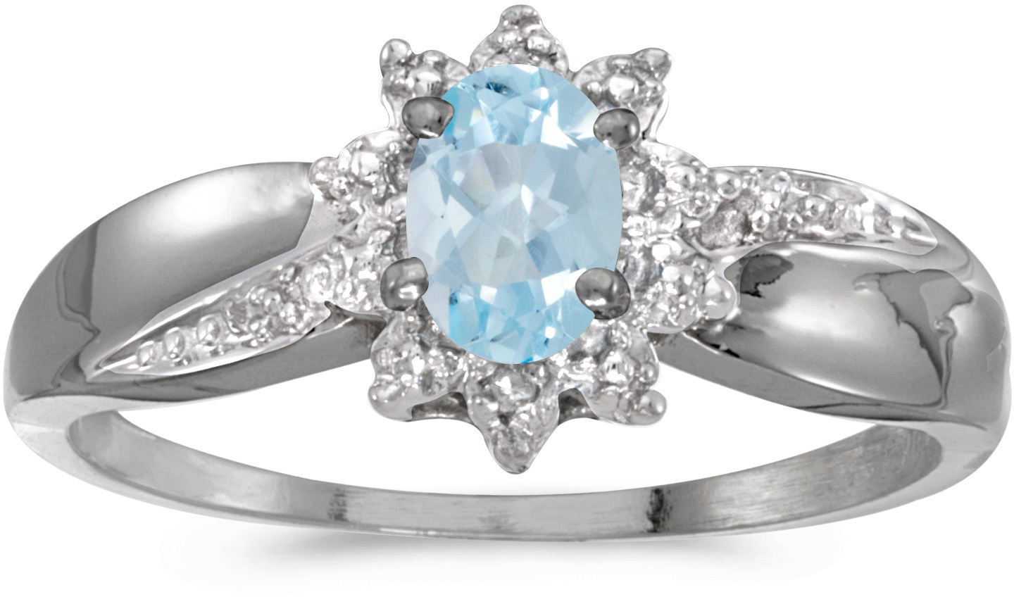 10k White Gold Oval Aquamarine And Diamond Ring (CM-RM911W-03)