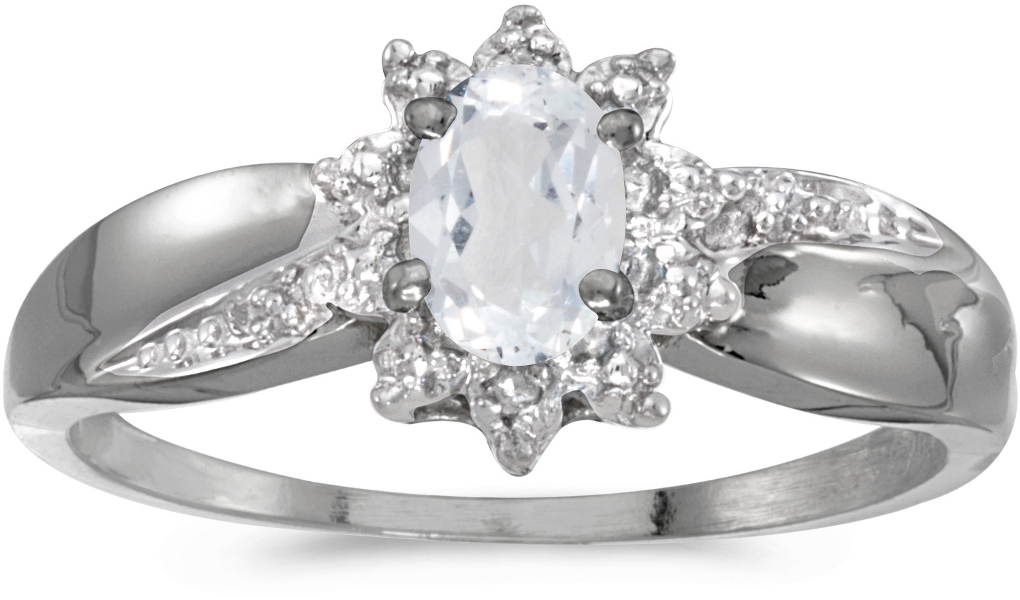 10k White Gold Oval White Topaz And Diamond Ring (CM-RM911W-04)