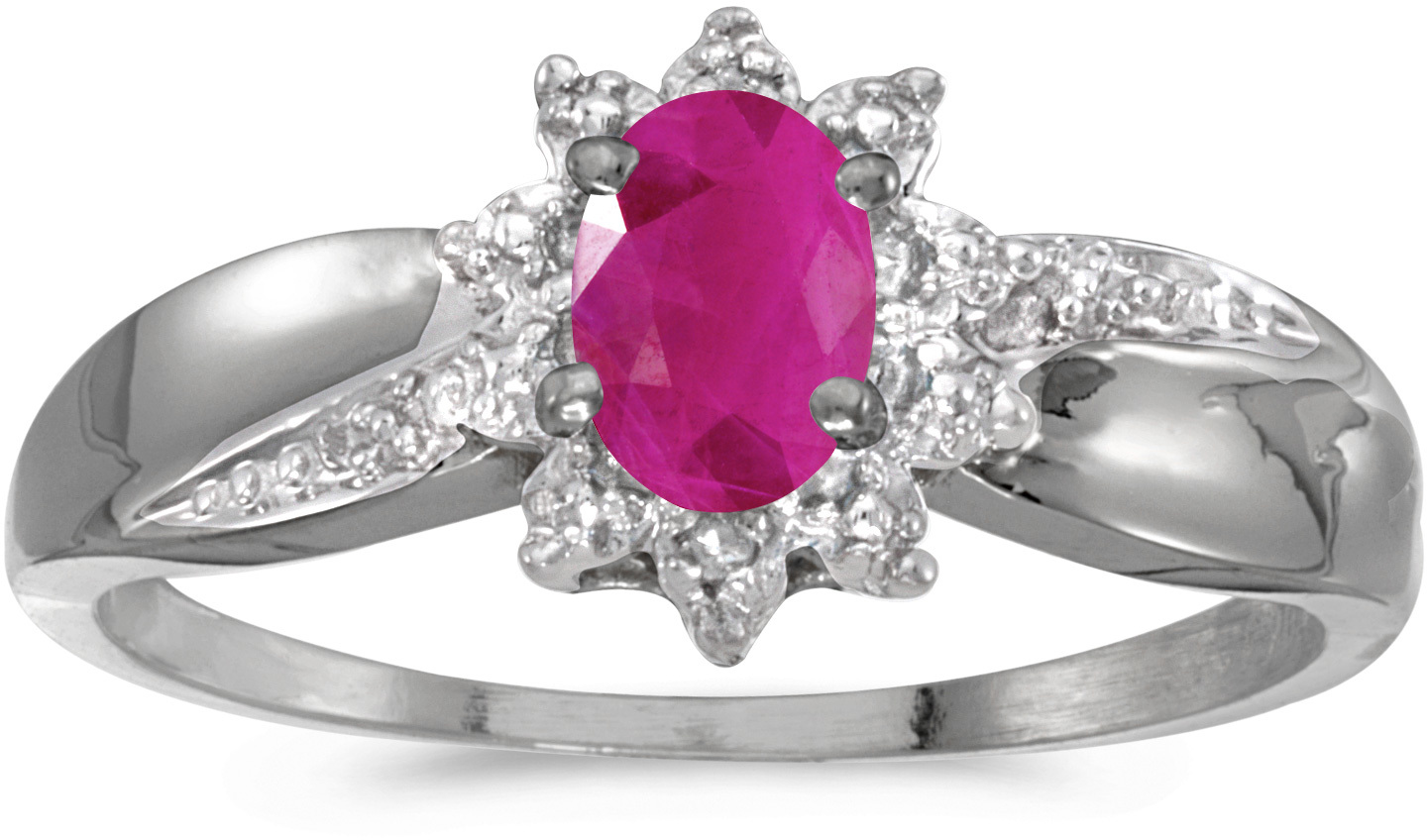 10k White Gold Oval Ruby And Diamond Ring (CM-RM911W-07)