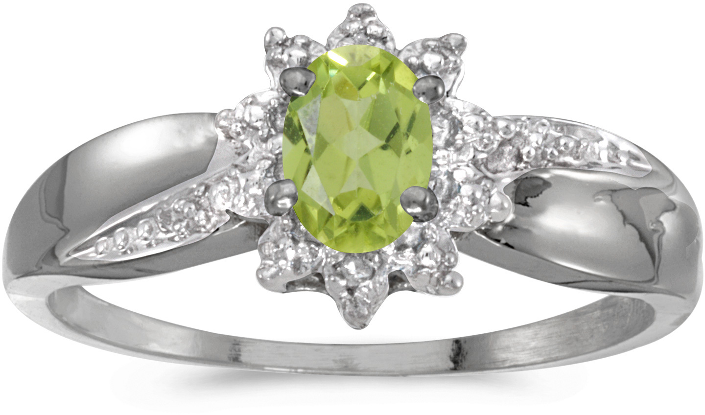 10k White Gold Oval Peridot And Diamond Ring (CM-RM911W-08)