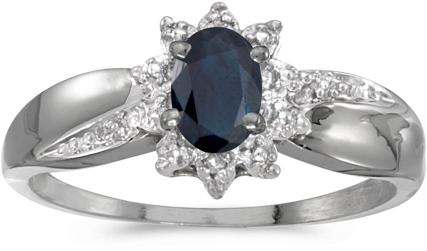10k White Gold Oval Sapphire And Diamond Ring (CM-RM911W-09)