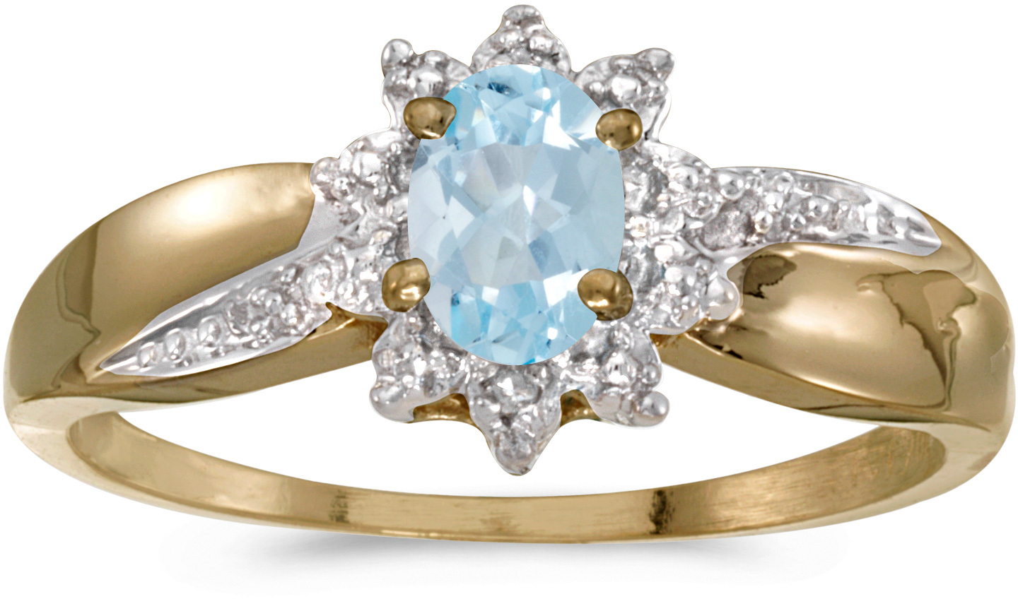 14k Yellow Gold Oval Aquamarine And Diamond Ring (CM-RM911X-03)