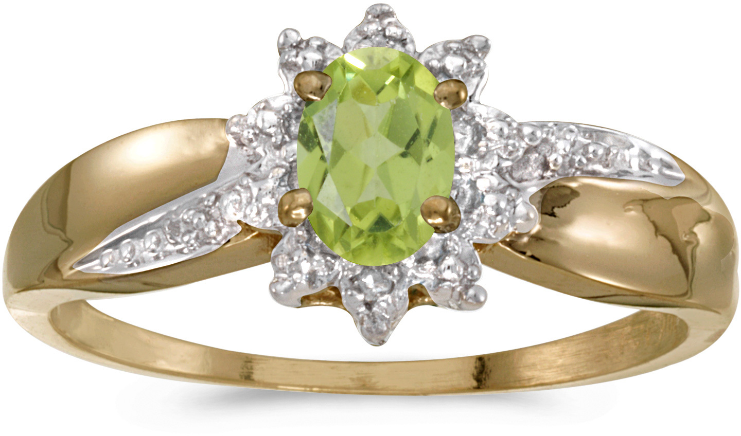 14k Yellow Gold Oval Peridot And Diamond Ring (CM-RM911X-08)