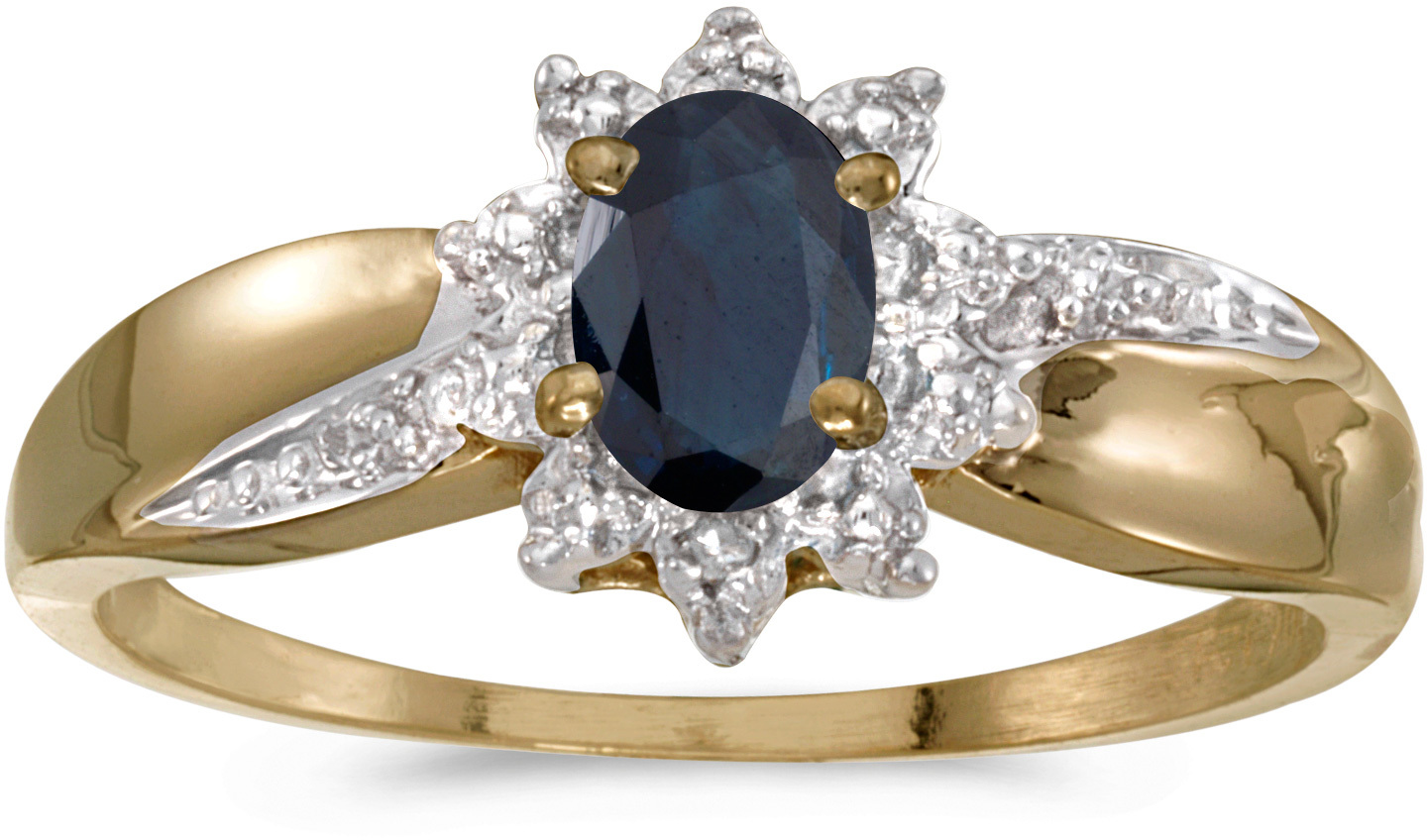 14k Yellow Gold Oval Sapphire And Diamond Ring (CM-RM911X-09)