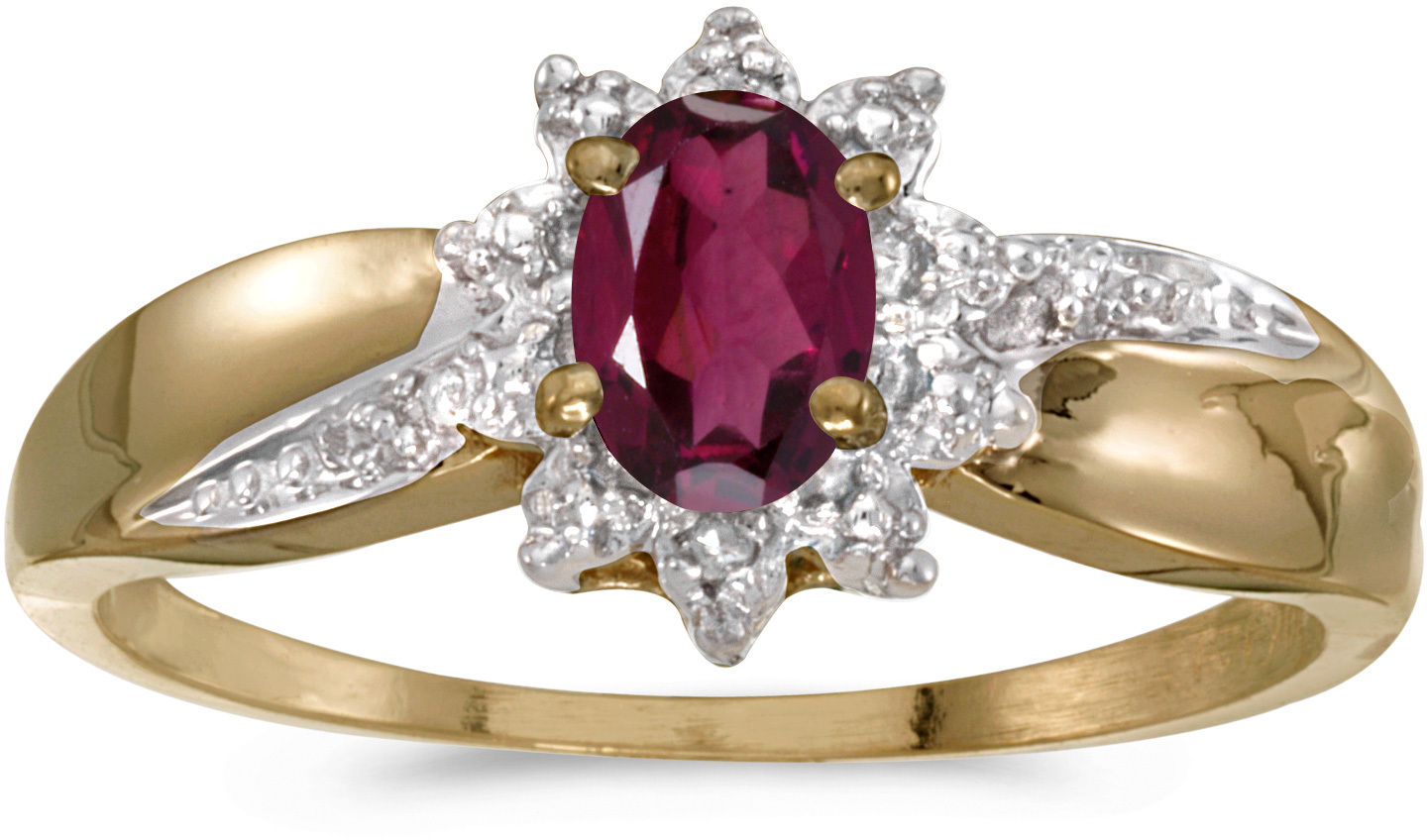 14k Yellow Gold Oval Rhodolite Garnet And Diamond Ring (CM-RM911X-RG)
