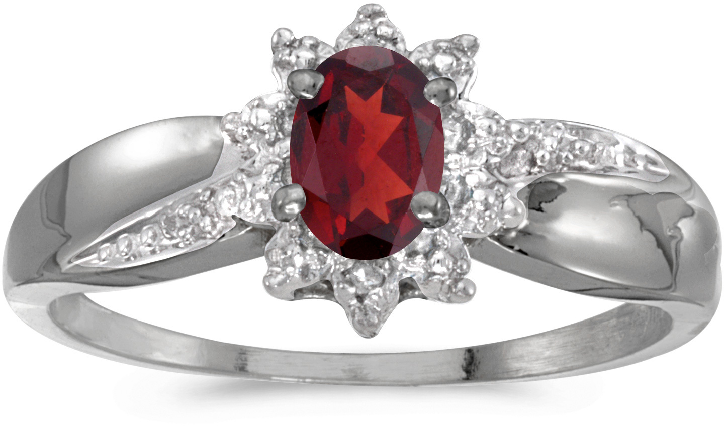 14k White Gold Oval Garnet And Diamond Ring (CM-RM911XW-01)