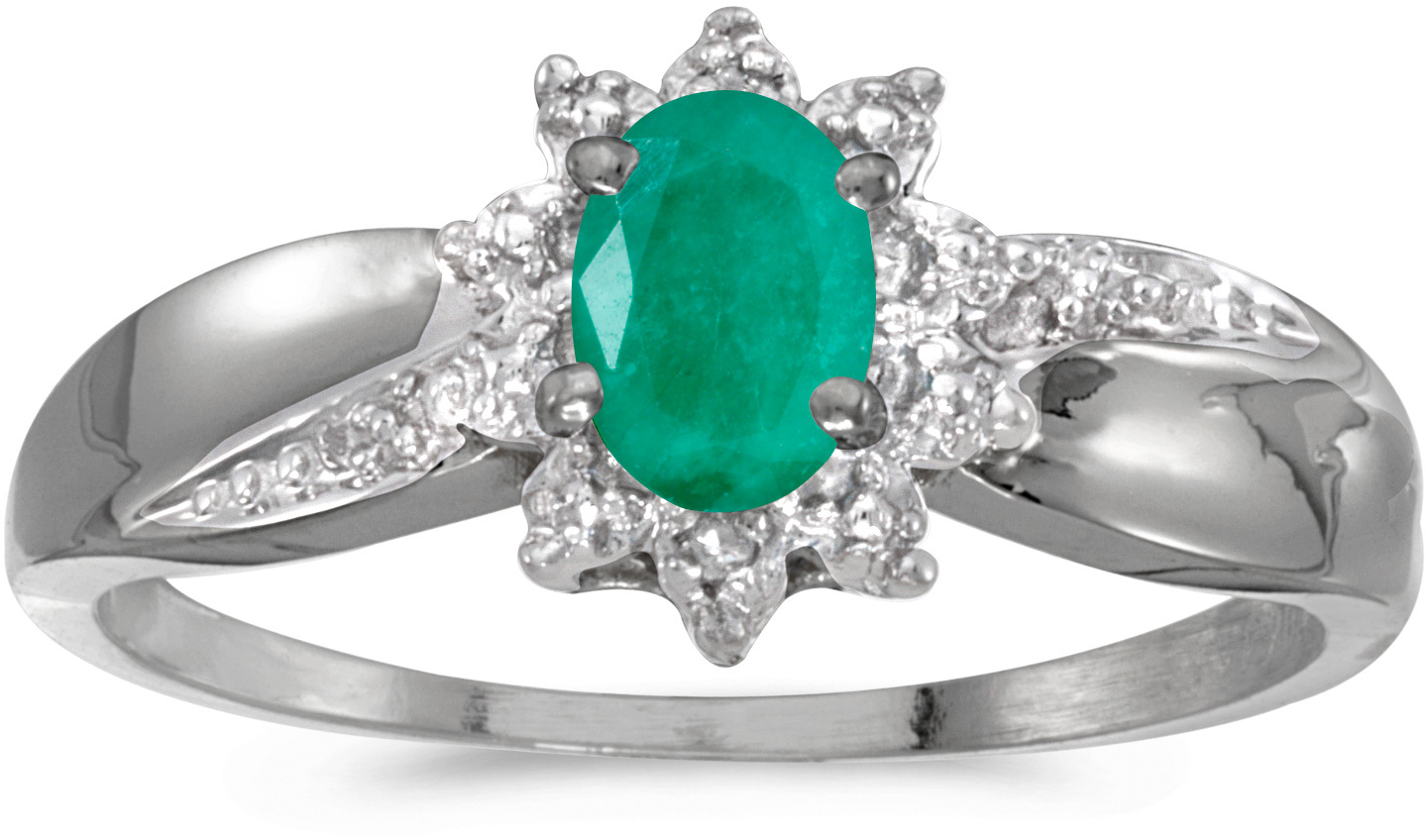 14k White Gold Oval Emerald And Diamond Ring (CM-RM911XW-05)