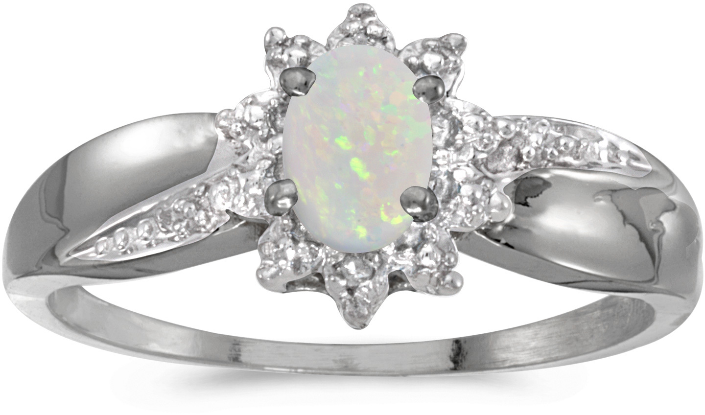 14k White Gold Oval Opal And Diamond Ring (CM-RM911XW-10)