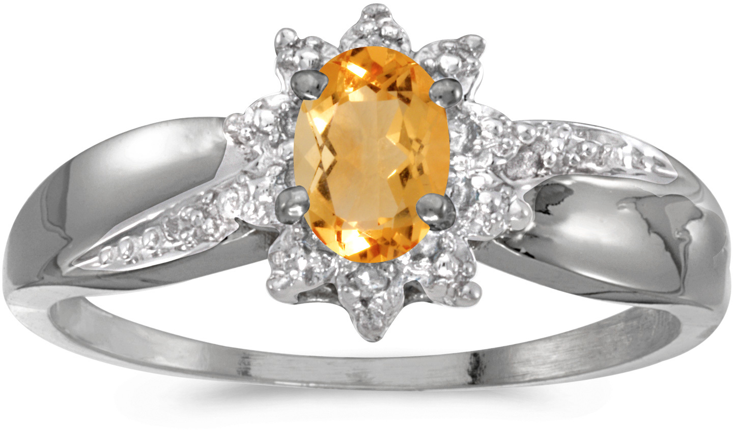 14k White Gold Oval Citrine And Diamond Ring (CM-RM911XW-11)