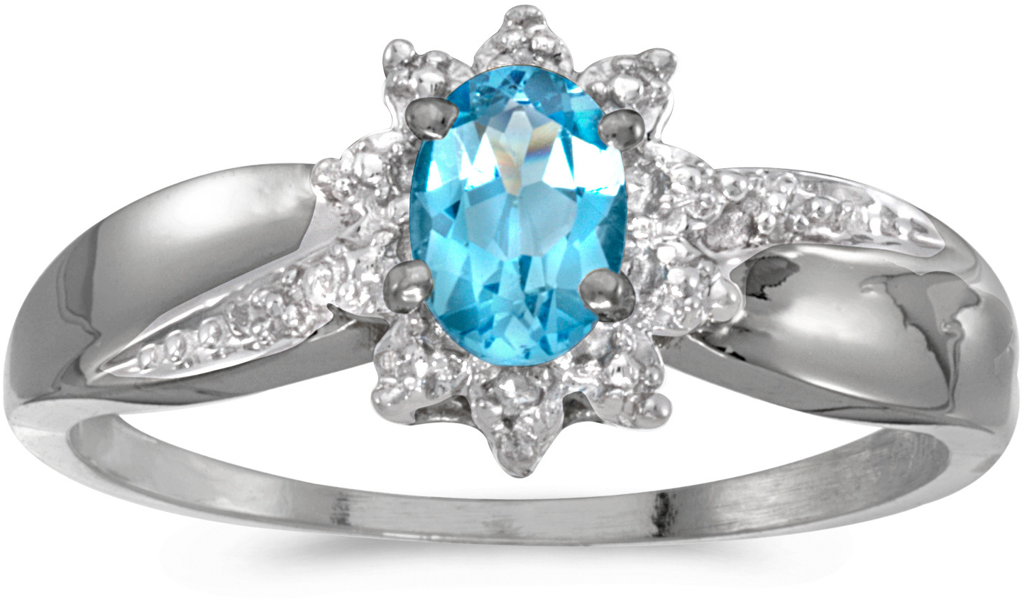 14k White Gold Oval Blue Topaz And Diamond Ring (CM-RM911XW-12)