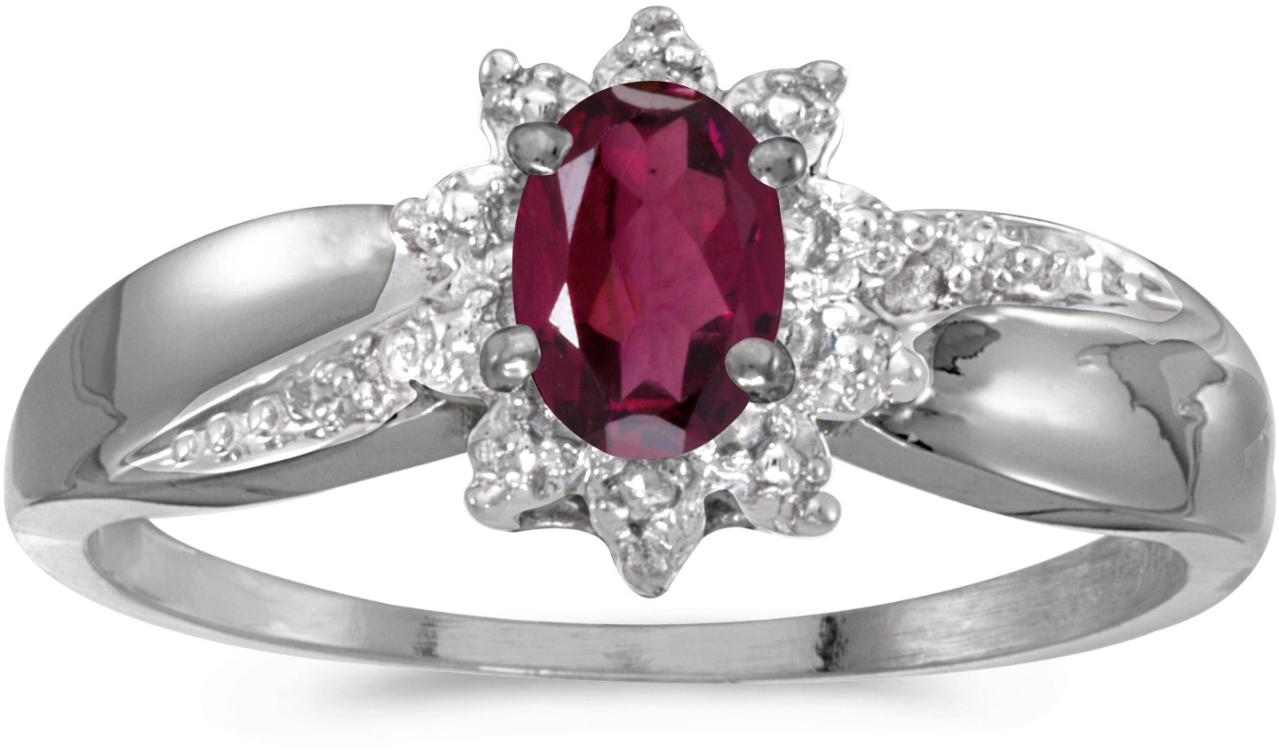 14k White Gold Oval Rhodolite Garnet And Diamond Ring (CM-RM911XW-RG)