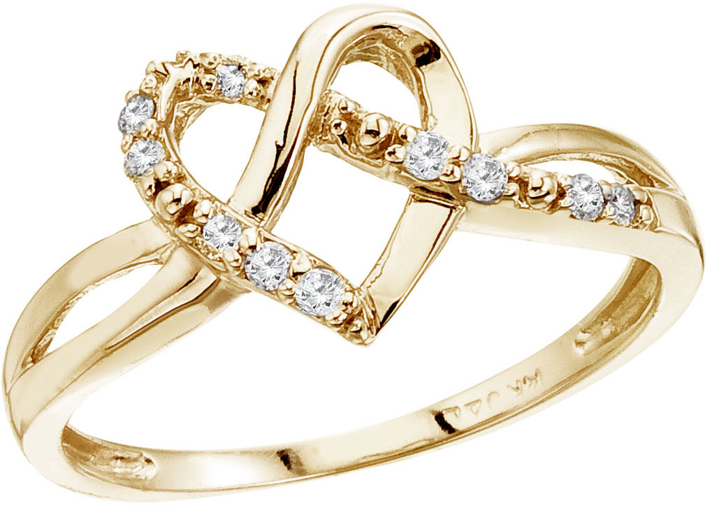 14K Yellow Gold .10 Ct Diamond Heart Ring (CM-RM9124)